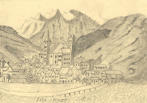 Naive School, Zermatt Village, Switzerland - Original 1896 graphite drawing