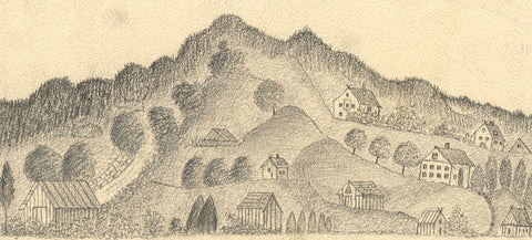 Naive School, Continental Hillside Village - Original 1880s graphite drawing
