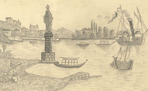 Naive School, Harbour Statue, Konstanz, Germany -Original 1880s graphite drawing