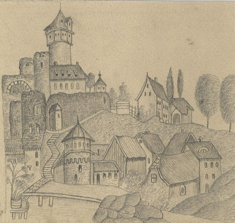 Naive School, Castle Tower, Möckmühl, Germany - Original 1880s graphite drawing