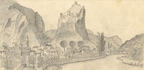 Naive School, Arco Castle, Lake Garda, Italy - Original 1885 graphite drawing