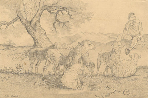 Naive School, Resting Shepherd Boy & Sheep - Original 1868 graphite drawing