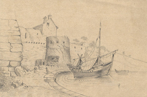 Naive School, Sailboat Moored by Harbour Castle -Original 1880s graphite drawing