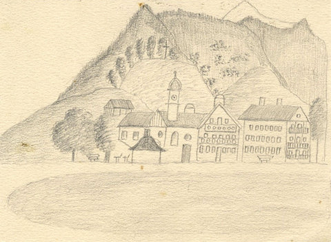 Naive School, Continental Village Church with Tower - 1880s graphite drawing
