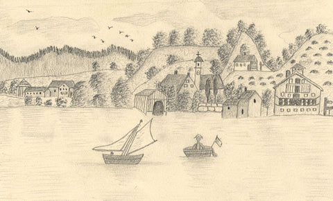 Naive School, Harbour Boats, Tegernsee, Germany -Original 1890 graphite drawing