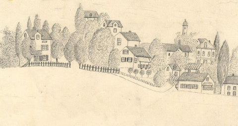 Naive School, Houses at Tutzing, Bavaria Germany -Original 1885 graphite drawing