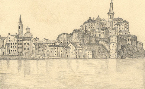 Naive School, Townscape at Calvi Corsica, France -Original 1882 graphite drawing