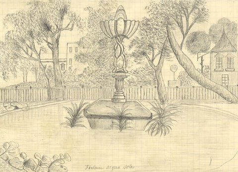 Naive School, Fountain, Acqua Sola, Genoa, Italy -Original 1890 graphite drawing