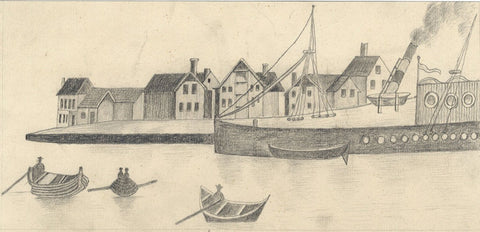 Naive School, Harbour at Stavanger, Norway - Original 1880s graphite drawing