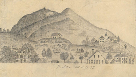 Naive School, Cityscape at St. Anton, Austria - Original 1873 graphite drawing
