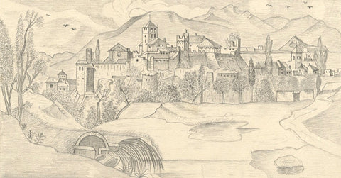 Naive School, Skyline at Desenzano del Garda, Italy - 1880s graphite drawing