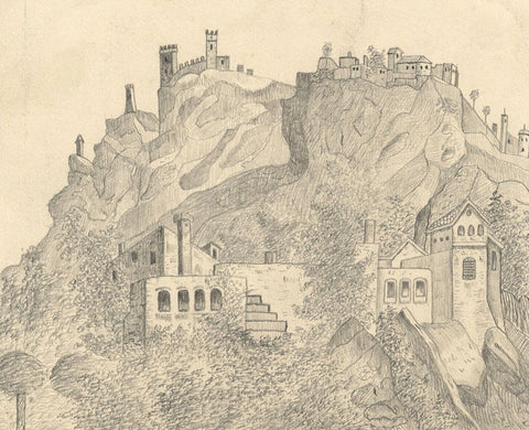 Naive School, San Marino Cliffside Fort, Italy - Original 1888 graphite drawing