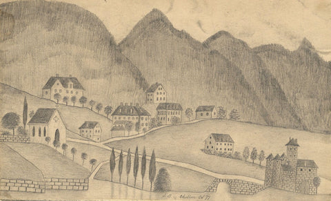 Naive School, Chillon Castle and Village, Switzerland - 1877 graphite drawing