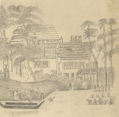 Naive School, Continental Lakeside House - Original 1880s graphite drawing