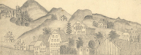 Naive School, Großgmain Houses, Salzburg Germany -Original 1880 graphite drawing