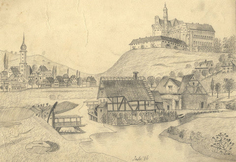 Naive School, Towncape with Neresheim Abbey, Germany - 1886 graphite drawing