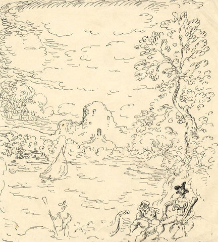 Harold Hope Read, Wooded Cove with Pirate Figures - 1920s pen & ink drawing