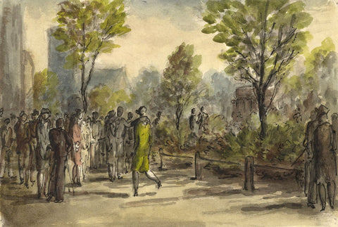 Harold Hope Read, Elegant 1920s Figures in the Park - 1920s watercolour painting