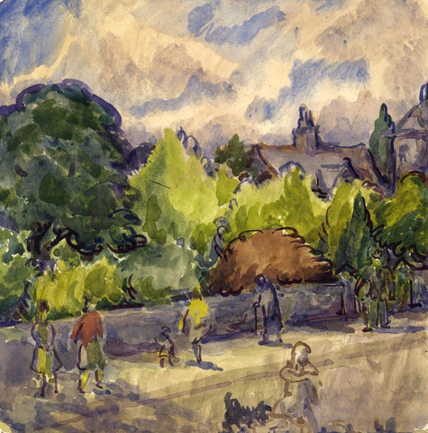 Harold Hope Read, Figures Promenading, Summer - 1920s watercolour painting