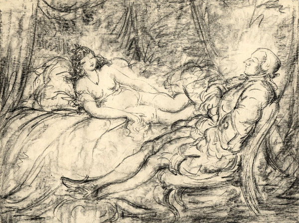 Harold Hope Read, Georgian Gentleman & His Mistress - 1920s charcoal drawing
