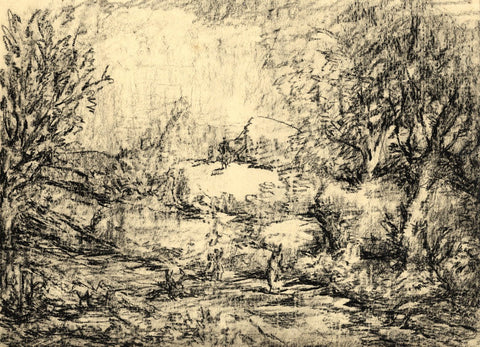 Harold Hope Read, Wooded Landscape with Figures -Original 1920s charcoal drawing