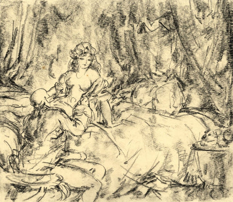 Harold Hope Read, High Life Mistress in Boudoir - Original 1920 charcoal drawing
