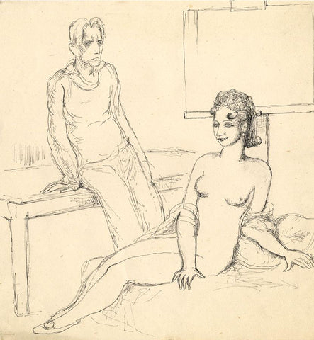 Harold Hope Read, Artist and his Muse - Original 1920s pen & ink drawing