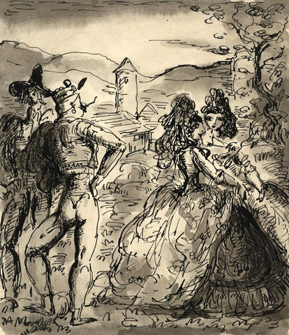 Harold Hope Read, Theatrical Scene (Don Quixote?) - 1920s pen & ink drawing