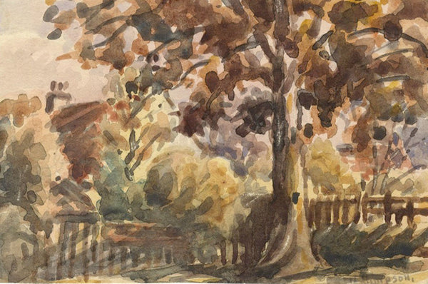 Arthur Simpson, Garden View, Thornaby-on-Tees - 1930s watercolour painting