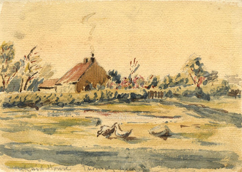 Arthur Simpson, Geese, Orchard House, Thornaby Green -1930s watercolour painting