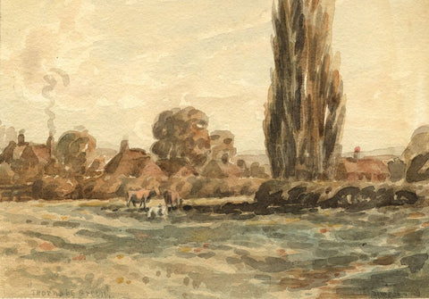 Arthur Simpson, Cows, Thornaby Green - Original 1930s watercolour painting