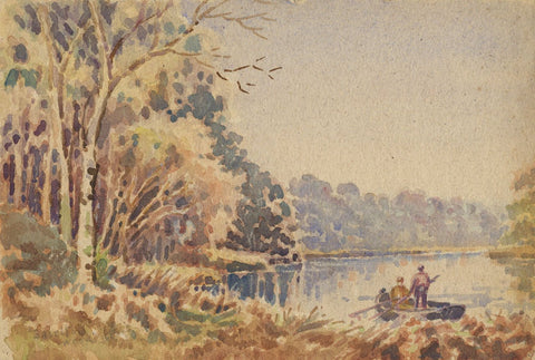 Arthur Simpson, Rowboat on the Tees, Bassleton Wood - 1930s watercolour painting