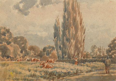 Arthur Simpson, Cows at Rest, Thornaby-on-Tees - 1930s watercolour painting