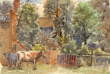 Arthur Simpson, Cows by Farmstead, Thornaby-on-Tees - 1930s watercolour painting