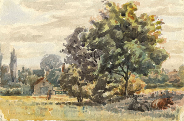 Arthur Simpson, Cows in Pasture, Thornaby Green - 1930s watercolour painting