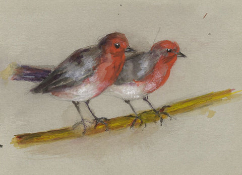 Ellen M. Murray Thomson, Robin Birds - Mid-20th-century watercolour painting