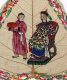 Antique 19th-century Chinese Painting on Peepal Leaf - Seated Qing Dynasty Man