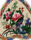 Antique 19th-century Chinese Peepal Leaf Painting -Peony Flowers & Pheasant Bird