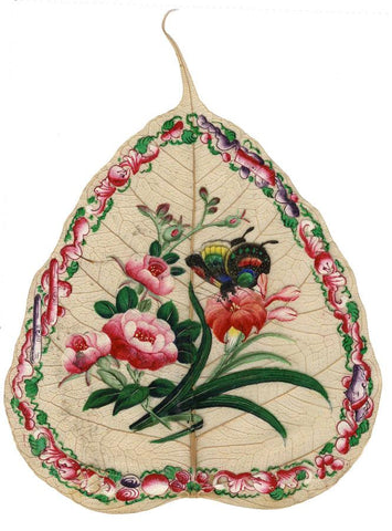 Antique 19th-century Chinese Painting on Peepal Leaf - Butterfly & Peony Flowers