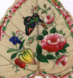 Antique 19th-century Chinese Painting on Peepal Leaf - Peony Flowers & Butterfly