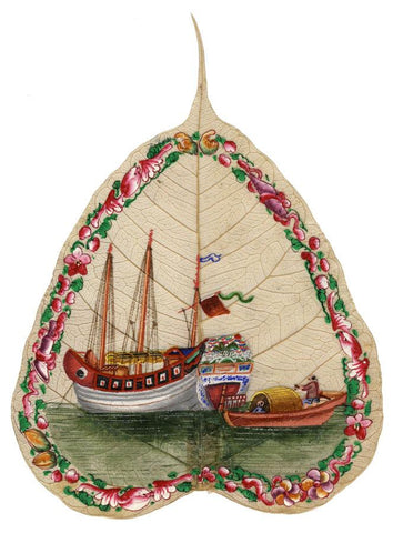 Antique 19th-century Chinese Painting on Peepal Leaf - Ornate Junk Boat