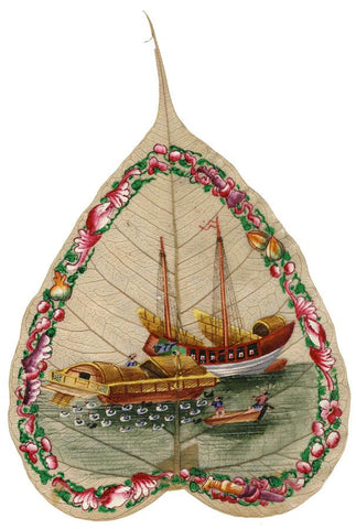 Antique 19th-century Chinese Painting on Peepal Leaf - Boats with Seabirds
