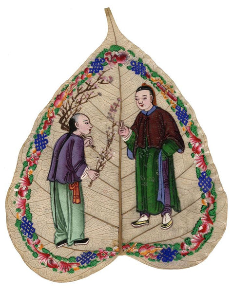 Antique 19th-century Chinese Painting on Peepal Leaf - Men with Cherry Blossom