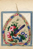 Antique 19th-century Chinese Peepal Leaf Painting - Bird, Peony & Morning Glory