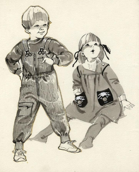 Vintage Fashion Designs - Children at Play - Early 1980s watercolour painting