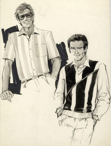 Vintage Fashion Designs - Men's Sportswear - Early 1980s watercolour painting