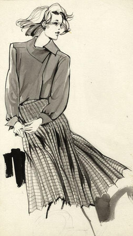 Vintage Fashion Designs -Women's Skirt & Blouse-Early 1980s watercolour painting