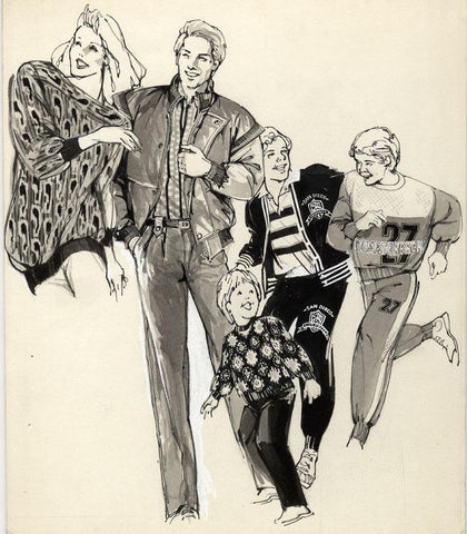 Vintage Fashion Designs - Family Leisurewear - Early 1980s watercolour painting