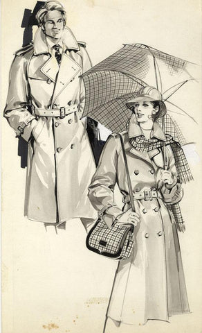 Vintage Fashion Designs - Couple's Rainwear - Early 1980s watercolour painting