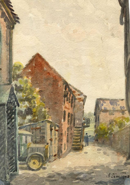 Arthur Simpson, Ayre's Yard, Yarm - Original 1930s watercolour painting